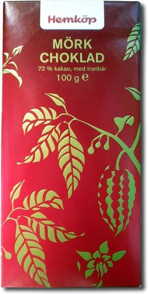 Hemköp Mörk choklad 72% med tranbär