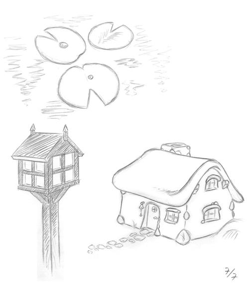 näckrosblad, lampa och stuga