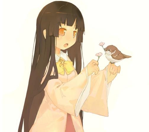 Flicka och småfågel