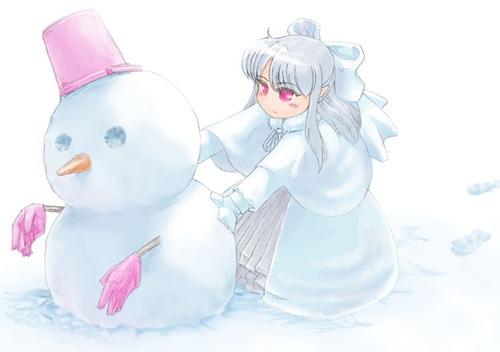 Flicka och snögubbe