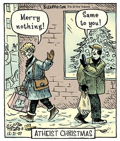 Ateistiska julhälsningar, av Piraro.